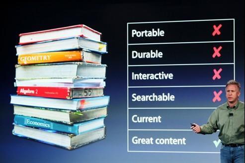 Seule qualité des manuels scolaires selon Apple : leur contenu.