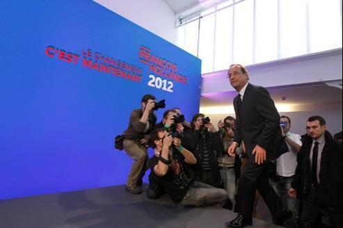 François Hollande presente lors de la présentation de son projet presidentiel, jeudi, à la Maison des métallos, à Paris.