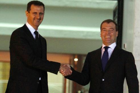 Bachar el-Assad et Dmitri Medvedev, en mai 2010, à Damas.