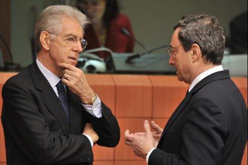 Le premier ministre italien, Mario Monti et le président de la BCE, Mario Draghi, le 23 janvier dernier, à Bruxelles.