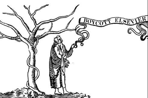 Le symbole d'Elsevier, l'arbre de la connaissance, détourné par un des signataires de la pétition. (crédits: Michael Eisen)