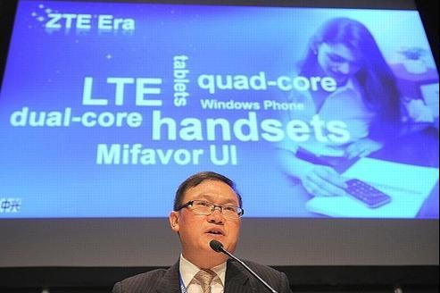 He Shiyou, PDG du fabricant ZTE, au salon du mobile de Barcelone.