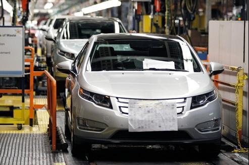 Une chaîne de montage de la Volt, dans l'usine General Motors de Detroit, aux États-Unis.