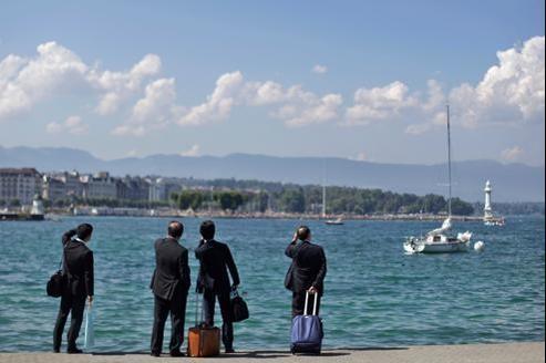 À Genève, sur la rive du Lac Léman.