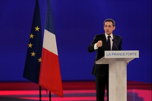 Le candidat Nicolas Sarkozy, dimanche à Villepinte.