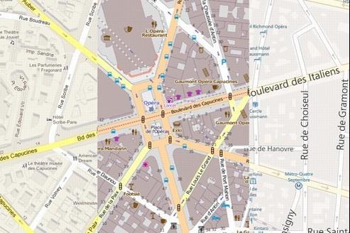 Google Maps à gauche, OpenStreetMap au centre, et Bing Maps à droite.