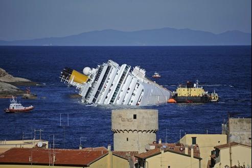 L'épave du Concordia, naufragé le 13 janvier dernier.