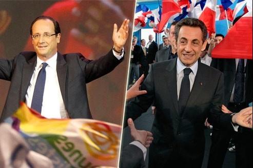 Selon notre sondage, François Hollande et Nicolas Sarkozy arrivent à égalité au premier tour, avec chacun 27,5% des intentions de vote. (Crédits photo : Reuters et AP)