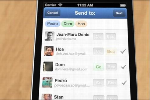 Sparrow permet de choisir plus facilement les destinataires de ses messages que le client de mail de l'iPhone.