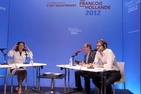 Ségolène Royal, Pierre Lescure et Lionel Bordeaux, le rédacteur en chef de Radio Hollande.