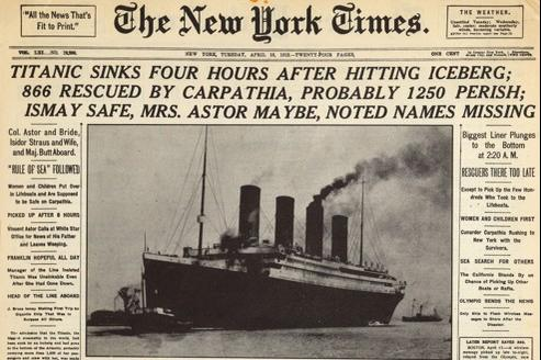 La une du New York Times datée du 16 avril 1912.