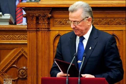 Le président de Hongrie, Pal Schmitt, après l'annonce de sa démission, lundi.