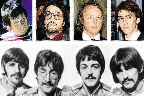 Zak Starkey (fils de Ringo Starr), Sean Lennon, James McCartney et Dhani Harrison (en haut de gauche à droite). Les Beatles en 1967 (ci-dessus). (AP/Abaca)