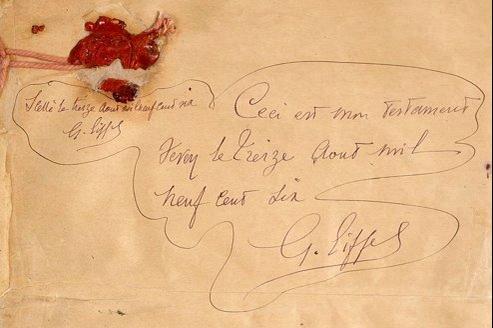 A sa mort, en 1923, Gustave Eiffel a 91 ans et cinq enfants. Fortuné, il prend soin, dans cet acte, de répartir tous ses biens entre eux. La succession sera toutefois difficile.