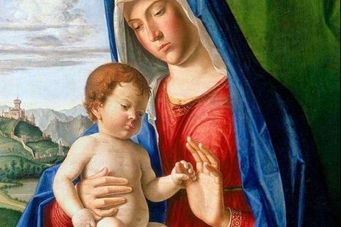 Oeuvre de foi. Dans cette «Vierge à l'Enfant» peinte autour de 1490 et considéerée comme une oeuvre de jeunesse, Cima joue avec talent du contraste lumineux des carnations et exprime avec délicatesse l'intimité du lien entre ke Christ et la Vierge.