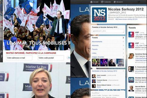 Captures d'écran du site du PS, du compte Twitter de Nicolas Sarkozy, et de la vidéo Dailymotion d'accueil du site de Marine Le Pen .