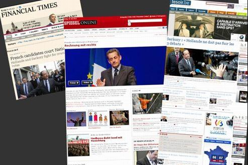 Capture des sites du Financial Times, du Spiegel et du Soir.
