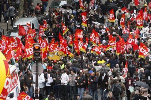Les syndicats les plus à gauche, dont la CGT, ont appelé les Français à battre Nicolas Sarkozy le 6 mai. Crédit: Jean-Christophe Marmara/Le Figaro