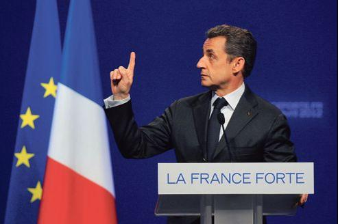 Nicolas Sarkozy en meeting, vendredi, à Dijon.
