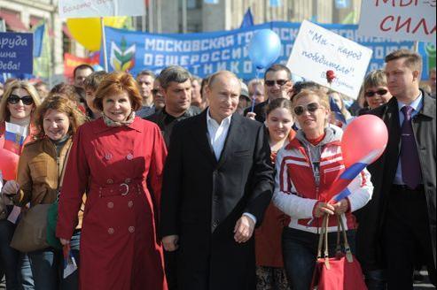 Vladimir Poutine, le 1er Mai à Moscou. Il sera investi, ce lundi, président de la Fédération russe.