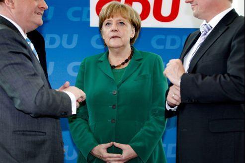 Angela Merkel lors d'une réunion de son parti, la CDU, lundi à Berlin.