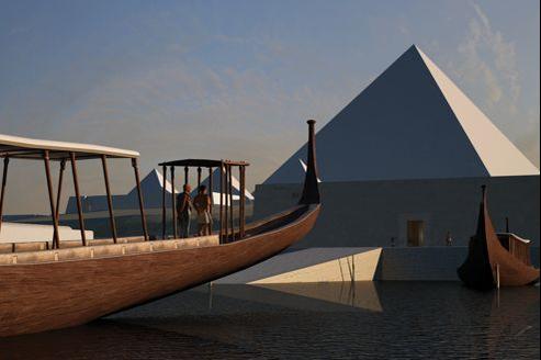 Reconstitution en 3D d'une barge à proximité des grandes pyramiques de Gizeh.