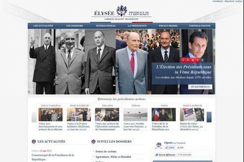 L'interface du site actuel de l'Élysée est inspirée de celui de la Maison-Blanche.