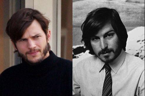 Ashton Kutcher (à gauche) grimé en Steve Jobs (à droite). (© TMZ/ AP)