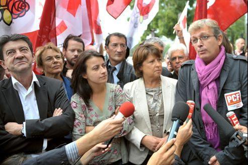 Jean-Luc Mélenchon, Martine Billard, Cécile Duflot, Martine Aubry et Pierre Laurent, en 2010.
