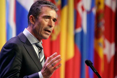 Anders Fogh Rasmussen, secrétaire général de l'Otan, dimanche, au sommet de l'organisation.