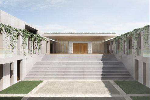 La cour centrale de ce lieu culturel et cultuel de 8000 m² , maginé par l'Atelier Frédéric Rolland.
