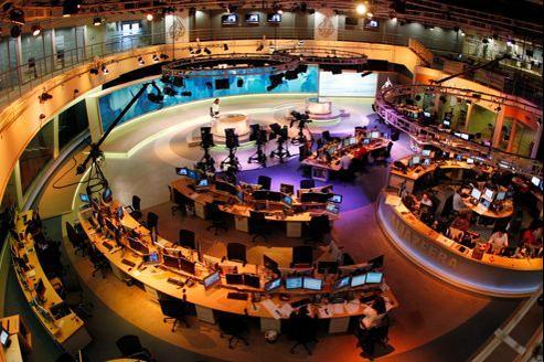 La newsroom d'al-Jazeera au siège de la chaîne, à Doha (Qatar).