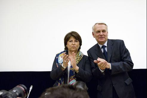 La première secrétaire du PS Martine Aubry et le premier ministre Jean-Marc Ayrault à l'Assemblée nationale le 22 mai.