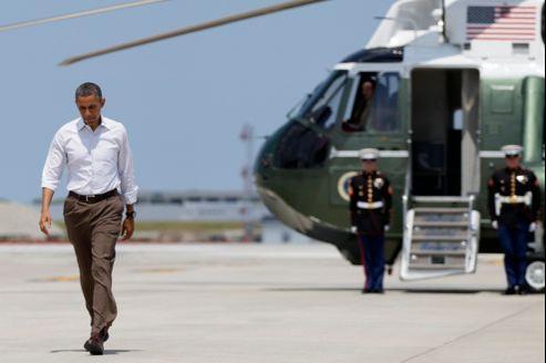 Barack Obama, samedi, à l'aéroport international d'O'Hare, à Chicago.