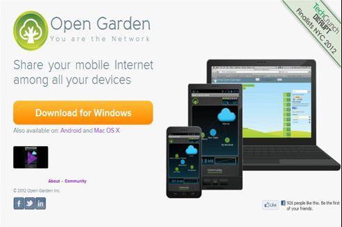 La page d'accueil du site d'Open Garden pour télécharger l'application.