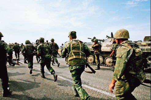 Mouvements de troupes russes entre Tbilissi et Gori, en août 2008.