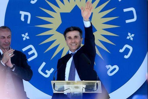 Bidzina Ivanishvili, le 27 mai 2012, à Tbilissi, lors d'un meeting de son parti, le «Rêve géorgien».
