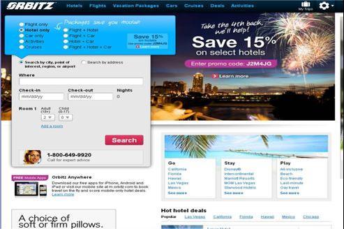 Page d'accueil de l'agence de voyage en ligne Orbitz.