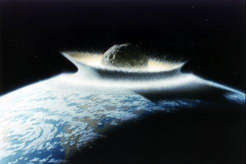 Vue d'artiste d'un impact d'astéroïde géant.