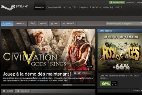 Capture d'écran du site Steam, qui permet de télécharger des jeux vidéo sur PC.