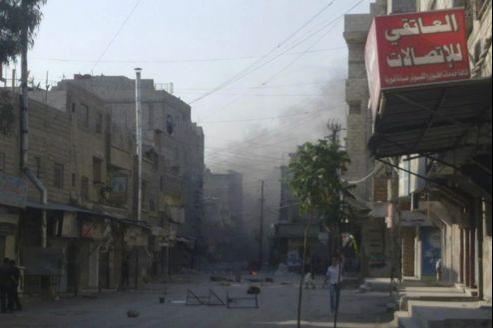 Le quartier de al-Tadamun à Damas, dimanche.