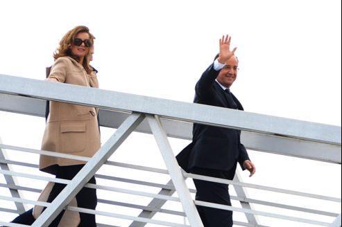 Valérie Trierweiler et François Hollande, samedi, à Brest.