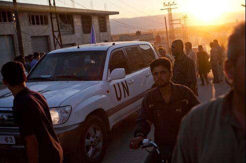 Un véhicule des observateurs de l'ONU dans le village de Treimsa, mi-juillet.