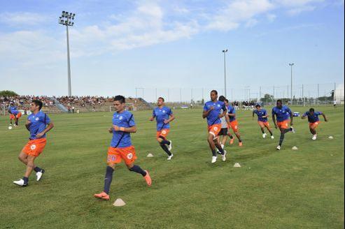 L'équipe du Montpellier Hérault SC à l'entraînement, le 20 juillet, une vingtaine de jours avant le début du championnat de France.
