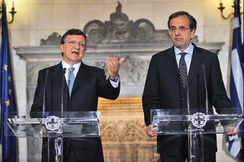 Jose Manuel Barroso et Antonis Samaras, premier ministre grec, le 26 juillet à Athènes.