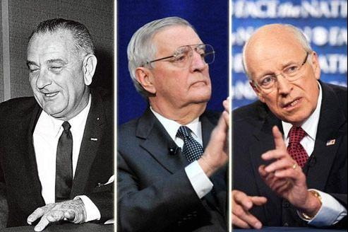 Trois des vice-présidents américains les plus mémorables: de gauche à droite, Lyndon Johnson (vice-président de John Fitzgerald Kennedy), Walter Mondale (Jimmy Carter) et Dick Cheney (George W. Bush).