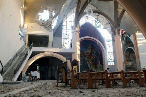 Ravagée par les combats, cette église d'Homs ne semble pas avoir été visée en tant qu'édifice chrétien. Pour l'instant...