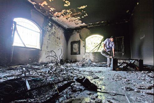 Les locaux dévastés de l'ambassade des États-Unis à Benghazi (Libye), après l'attaque perpétrée le 11 septembre dernier .