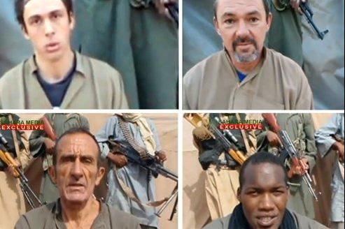 Image extraite d'une vidéo rendue publique par Aqmi le 8 septembre, qui montre les otages français vivants.