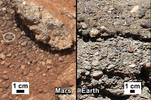 Les chercheurs ont présenté la comparaison entre un agglomérat de roches trouvé sur Mars avec un ancien lit de rivière sur Terre.
